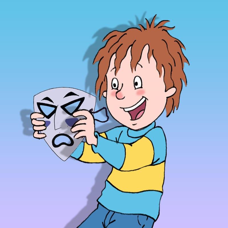 Henry holding killer boy rays mask