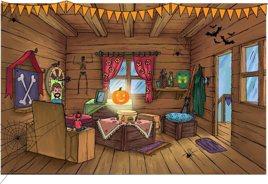 Moody Margaret tree house for Halloween
